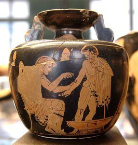 Medico che cura un paziente. Ariballo attico, 480-470 a.c. Museo del Louvre, Parigi.
